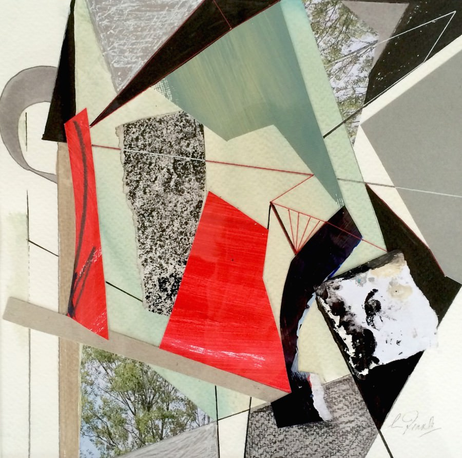 On paper collages A DIFFERENT CORNER 23 x 23cm mixed media stitched collage 2015 Traxler copy