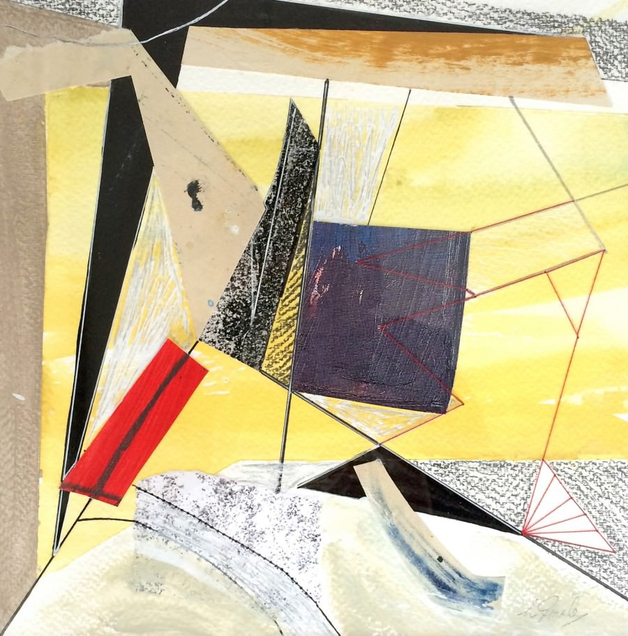 On paper collages SEE THE MOMENT 23 x 23cm mixed media stitched collage 2015 Traxler copy
